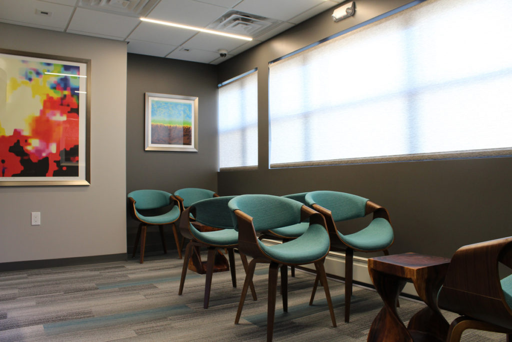 Calm and comfortable waiting room at our Hewlett Location.